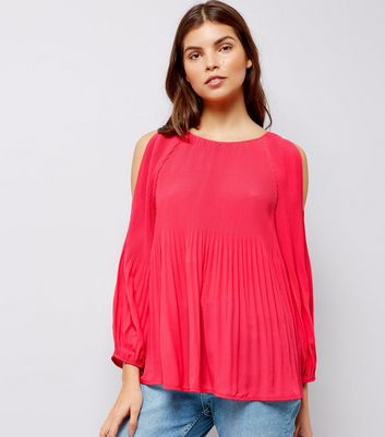 Pink Pleated Cold Shoulder Cold Shoulder Top