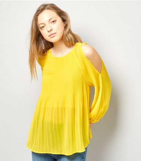 Yellow Pleated Cold Shoulder Cold Shoulder Top | New Look
