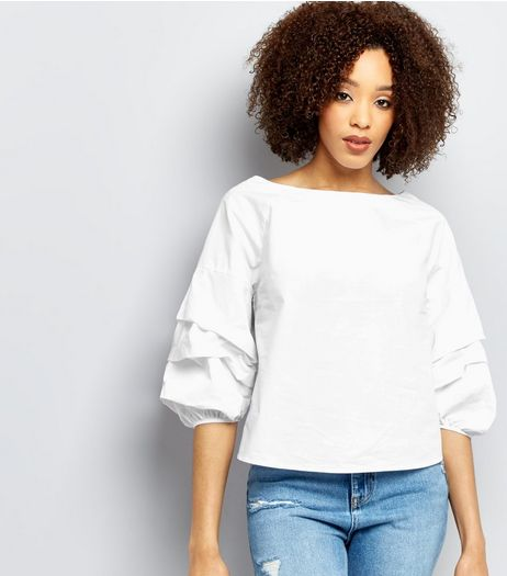 White Gathered 3/4 Sleeve Top  | New Look