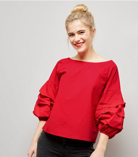 Red Gathered 3/4 Sleeve Top  | New Look