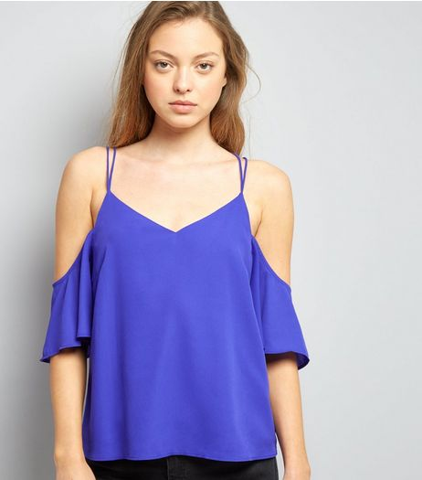 Purple Cross Back Cold Shoulder Top | New Look