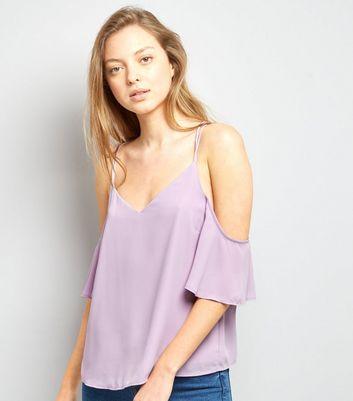 Lilac Cross Strap Back Cold Shoulder Top