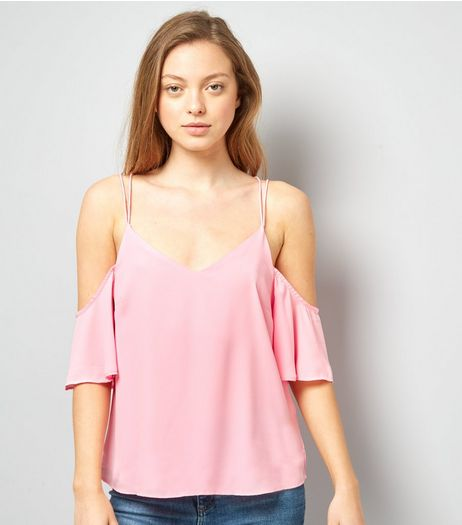 Pink Cold Shoulder Cross Strap Back Top | New Look
