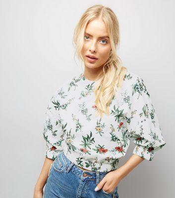 White Floral Print Cuffed Sleeve Crop Top