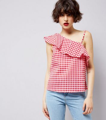 Red Gingham Frill Trim Off the Shoulder Top