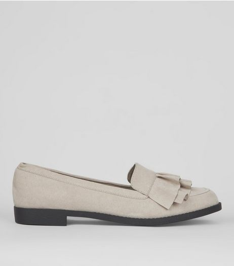 Wide Fit Grey Frill Trim Loafers | New Look