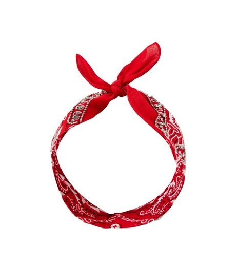 Red Crystal Embellished Paisley Print Bandana | New Look