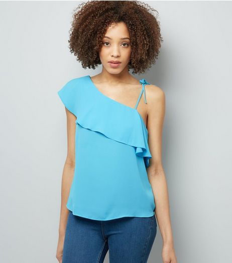 Turquoise Frill Trim Off the Shoulder Top | New Look