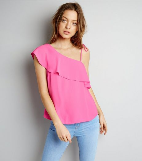 Bright Pink Frill Trim Off the Shoulder Top  | New Look