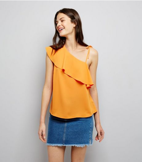 Orange Frill Trim Tie Strap Off the Shoulder Top | New Look