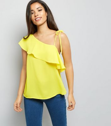 Yellow Frill Trim Off the Shoulder Top