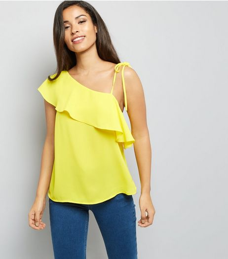 Yellow Frill Trim Off the Shoulder Top  | New Look