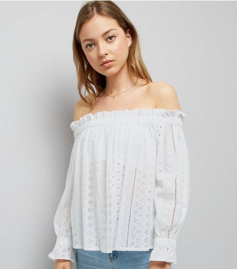 White Cut Out Embroidered Bardot Neck Top  | New Look