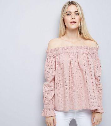 Shell Pink Broderie Bardot Top