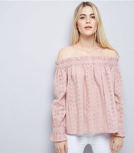 Shell Pink Broderie Bardot Top | New Look
