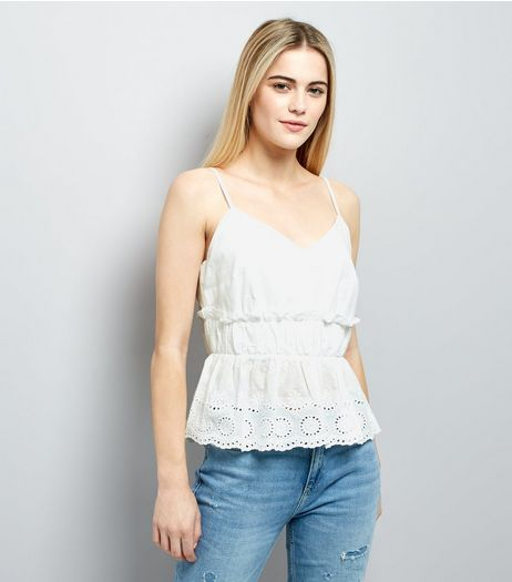 White Gathered Broderie Peplum Hem Cami | New Look