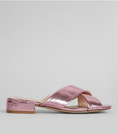 Wide Fit Pink Metallic Cross Strap Mules | New Look
