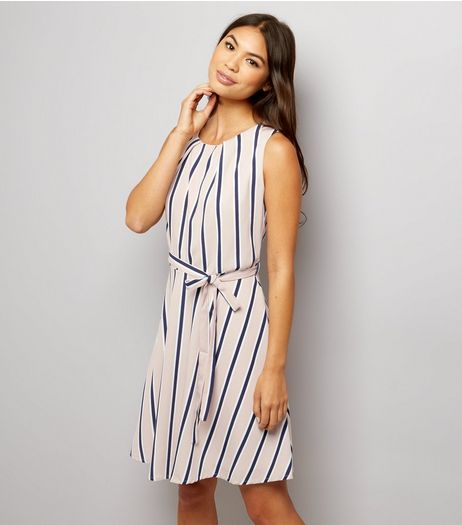 Mela Stone Stripe Tie Waist Skater Dress  | New Look