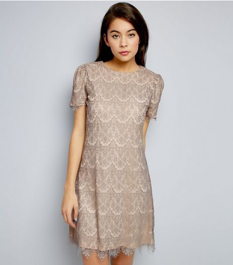 Mela Pale Grey Lace Short Sleeve Dress  | New Look