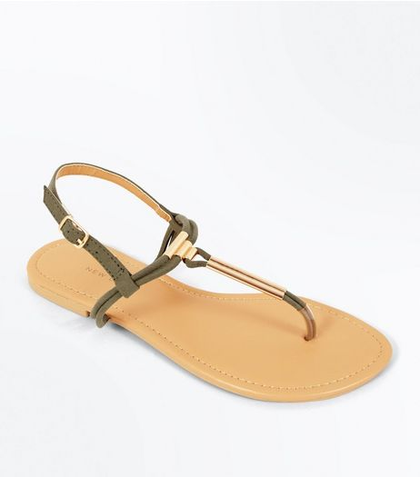 Wide Fit Khaki Suedette Toe Post Sandals | New Look