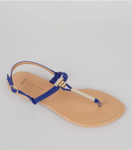 Wide Fit Blue Suedette Toe Post Sandals | New Look