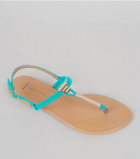 Wide Fit Turquoise Suedette Toe Post Sandals | New Look