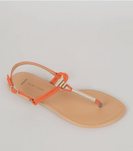Wide Fit Orange Suedette Toe Post Sandals | New Look