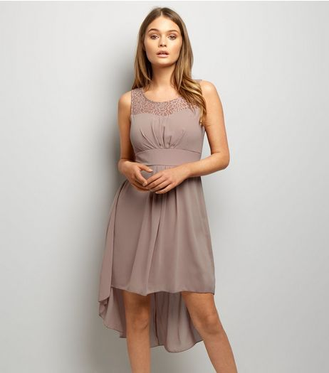 Mela Stone Lace Panel Sleeveless Dip Hem Dress | New Look