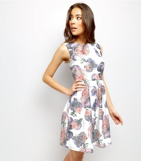Mela White Rose Print Sleeveless Dress  | New Look