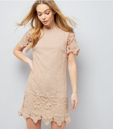 Mela Pink Navy Crochet Lace Short Sleeve Dress | New Look