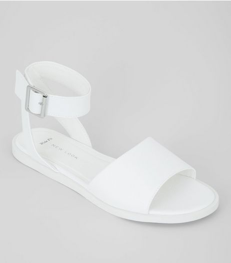Wide Fit White Sandals | New Look