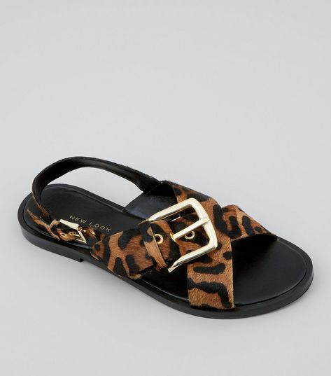 Wide Fit Tan Textured Suede Leopard Print Buckle Strap Sandals | New Look