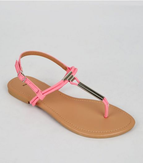 Wide Fit Neon Pink Suedette Toe Post Sandals | New Look
