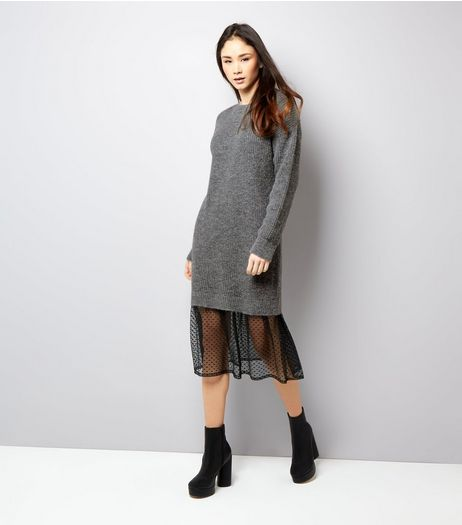 Grey Polka Dot Mesh Panel Jumper Dress | New Look