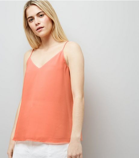 Tall Orange Lace Up Back Cami | New Look