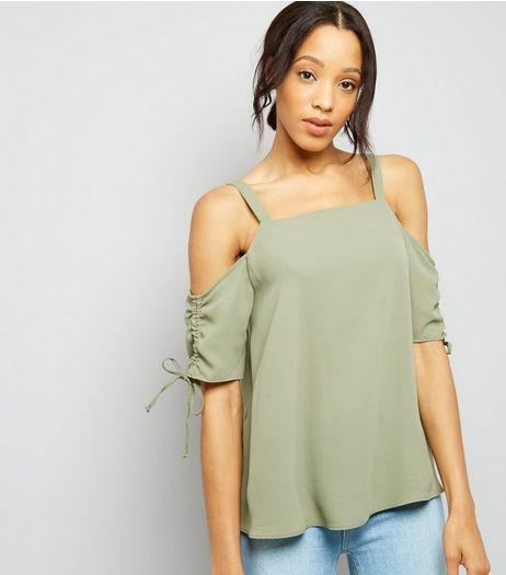 Tall Khaki Green Cold Shoulder Top | New Look