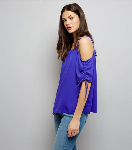 Tall Purple Ruched Sleeve Cold Shoulder Top | New Look