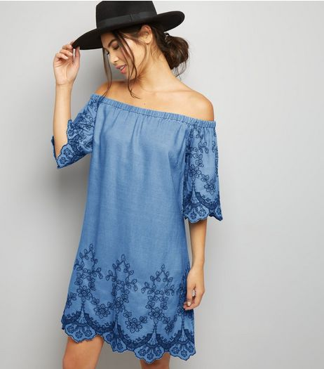 Tall Blue Embroidered Denim Bardot Neck Dress | New Look