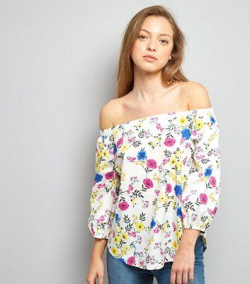White Floral Print Bardot Neck Top