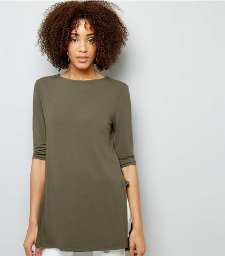 Tall Khaki Ring Trim 3/4 Sleeve Longline Top  | New Look