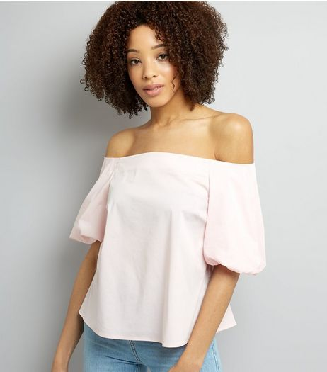Pink Balloon Sleeve Bardot Neck Top | New Look