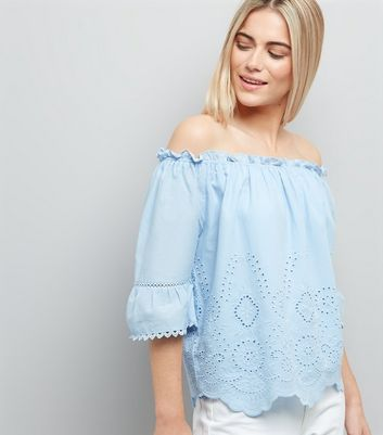 Pale Blue 1/2 Sleeve Cut Out Bardot Neck Top