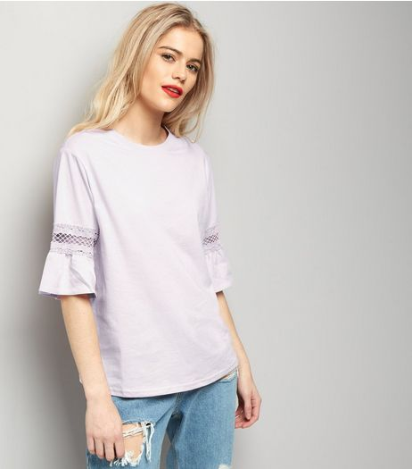Tall Purple Lace Trim Bell Sleeve Top | New Look