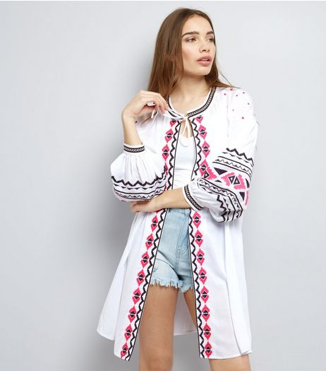 White Embroidered Longline Kimono  | New Look