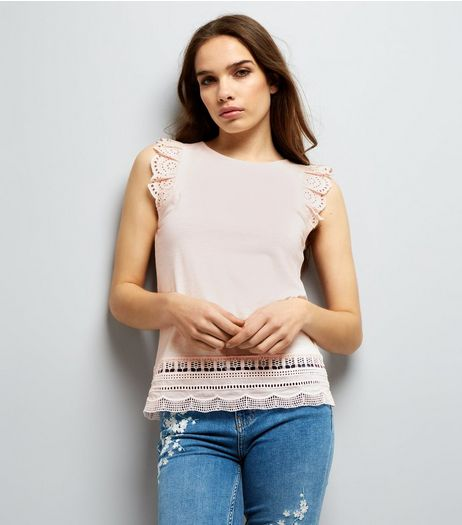Tall Pink Frill Sleeve Broderie Hem Top | New Look