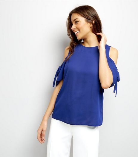 Tall Blue Ruched Tie Cold Shoulder Top | New Look