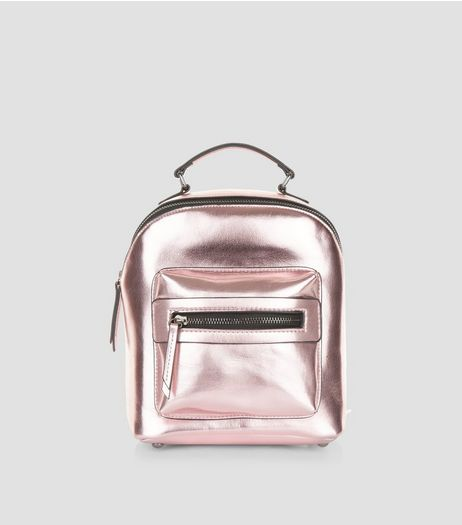 Pink Metallic Pocket Front Mini Backpack | New Look