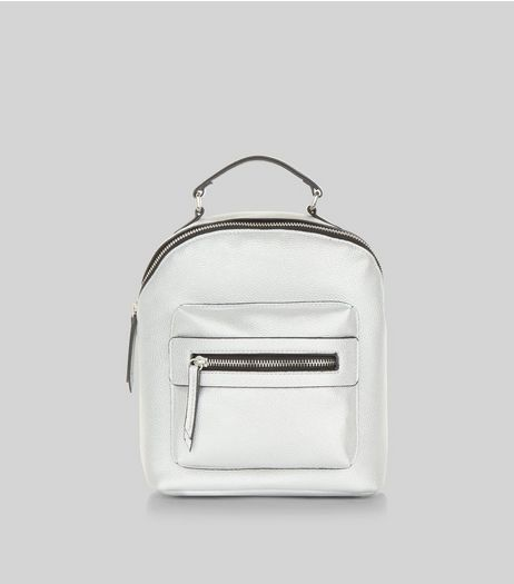 Silver Metallic Pocket Front Mini Backpack | New Look