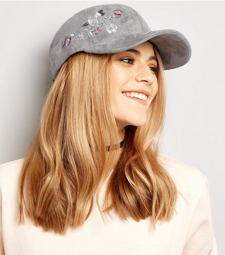 Grey Suedette Embroidered Cap | New Look