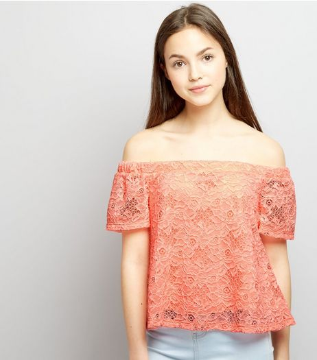 Teens Coral Lace Bardot Neck Top | New Look